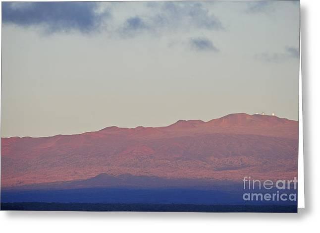 Mauna Kea Volcano At Sunrise From Hilo Greeting Card by Sami Sarkis