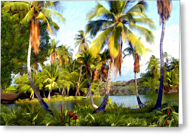 Hawaiian Pond Greeting Cards - Mauna Lani Fish Ponds Greeting Card by Kurt Van Wagner
