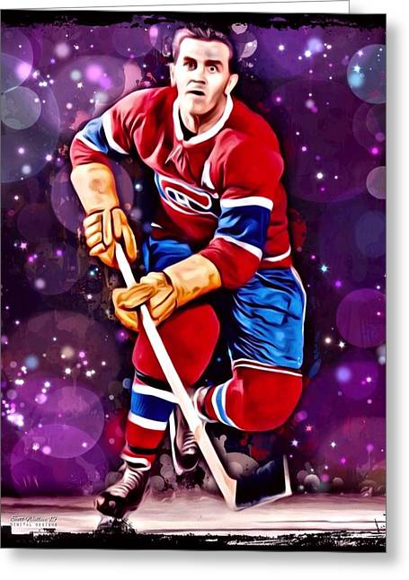 Professional Ice Hockey Greeting Cards - Maurice Richard Montreal Canadiens Greeting Card by Scott Wallace