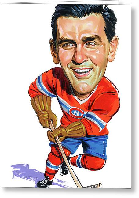 Hockey Paintings Greeting Cards - Maurice Rocket Richard Greeting Card by Art