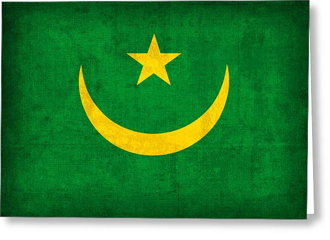 Mauritania Flag Vintage Distressed Finish Greeting Card by Design Turnpike
