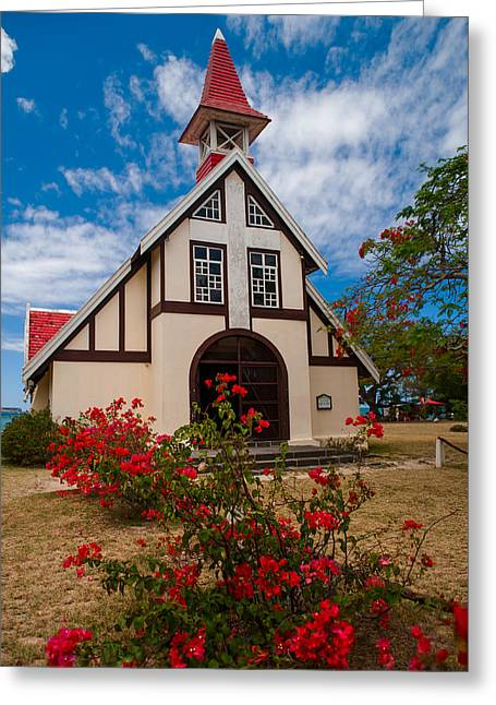 Most Photographs Greeting Cards - Mauritian Catholic Church.  Notre Dame Auxiliatrice Greeting Card by Jenny Rainbow