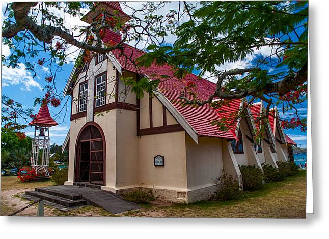 Most Photographs Greeting Cards - Mauritian Fishermen Church in Grand Baie Greeting Card by Jenny Rainbow