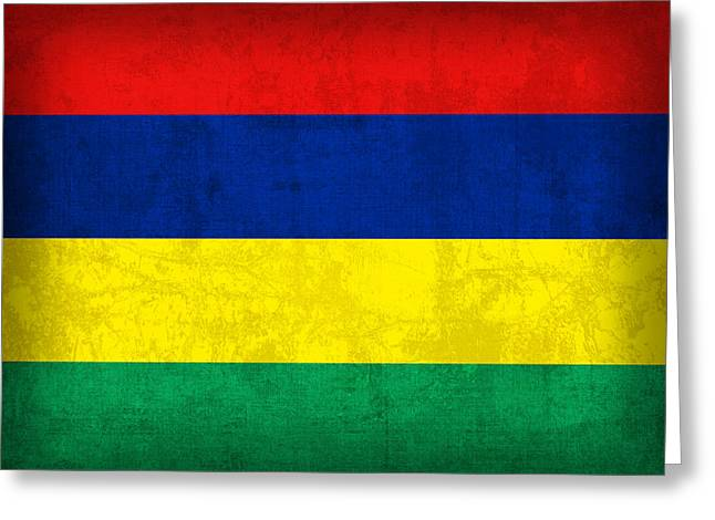 Mauritius Flag Vintage Distressed Finish Greeting Card by Design Turnpike