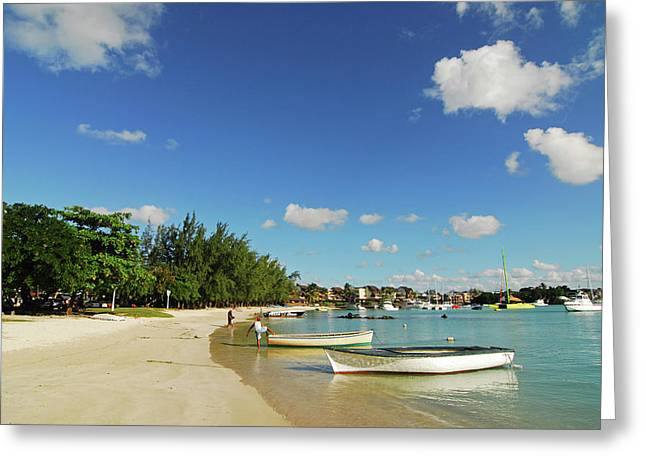 Mauritius, Grand Baie, Boat At Water's Greeting Card by Anthony Asael