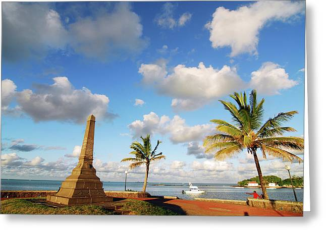 Mauritius, Mahebourg, View Of A Built Greeting Card by Anthony Asael
