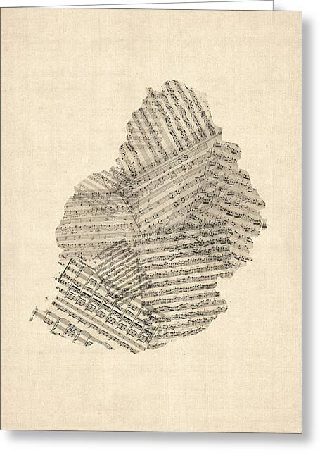 Old Digital Greeting Cards - Mauritius Old Sheet Music Map Greeting Card by Michael Tompsett
