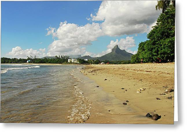 Mauritius, Tamarin, View Of Calm Beach Greeting Card by Anthony Asael