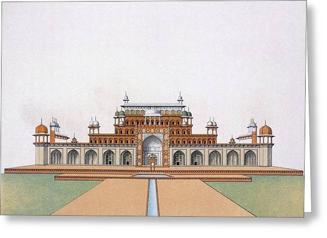 Mausoleum Greeting Cards - Mausoleum Of Akbar The Great At Sekandra Greeting Card by German School