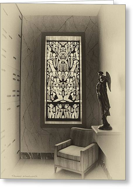 Queen Of Heaven Greeting Cards - Mausoleum Stained Glass 02 Greeting Card by Thomas Woolworth