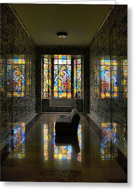 Queen Of Heaven Greeting Cards - Mausoleum Stained Glass 03 Greeting Card by Thomas Woolworth