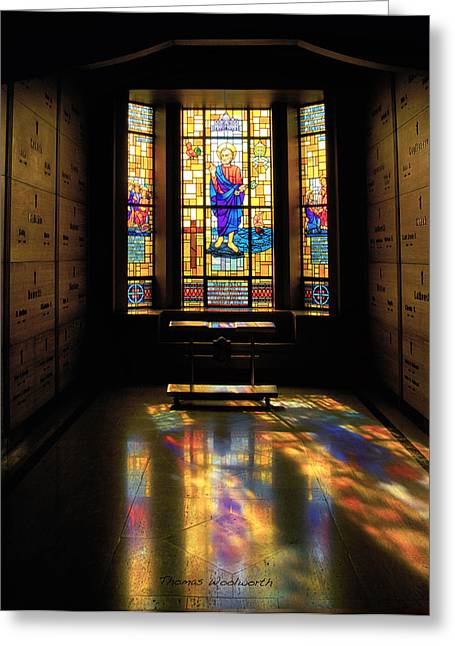 Queen Of Heaven Greeting Cards - Mausoleum Stained Glass 06 Greeting Card by Thomas Woolworth