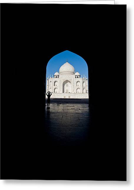 Arches Memorial Photography Greeting Cards - Mausoleum Viewed Through An Arch, Taj Greeting Card by Panoramic Images