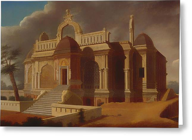 Stone Steps Greeting Cards - Mausoleum with Stone Elephants Greeting Card by Francis Ward