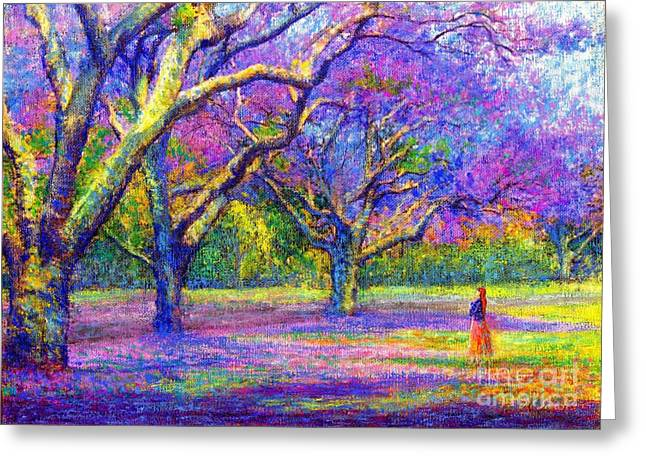 Spiritual Paintings Greeting Cards - Mauve Majesty Greeting Card by Jane Small
