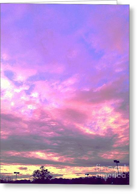 Mauve Sunset Greeting Card by Delona Seserman