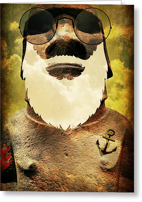 Tattoo Culture Greeting Cards - Maverick Moai Greeting Card by Stephen Stookey