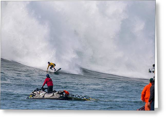 Twiggy Photographs Greeting Cards - Mavericks Invitational 2014 Series 12 Greeting Card by Josh Whalen