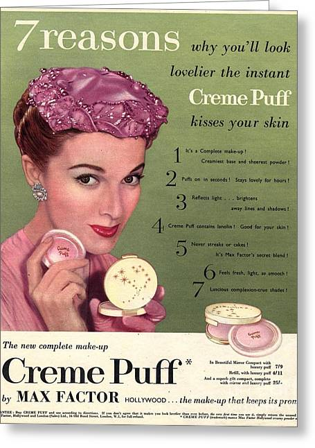 Twentieth Century Greeting Cards - Max Factor 1950s Uk Creme Puff Greeting Card by The Advertising Archives