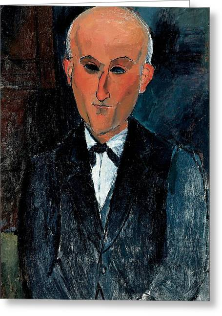 Author Greeting Cards - Max Jacob, C.1916-17 Oil On Canvas Greeting Card by Amedeo Modigliani