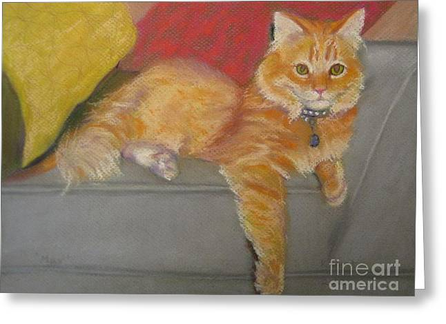 Cat Prints Pastels Greeting Cards - Max Greeting Card by Katrina West