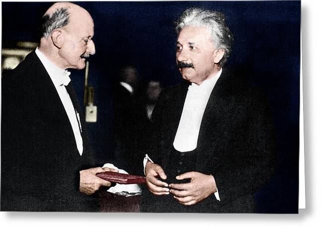 Max Planck And Albert Einstein Greeting Card by Science Photo Library