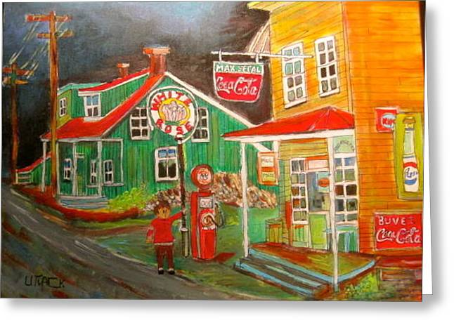 Max Segal's New Glasgow store Montreal Memories Greeting Card by Michael Litvack