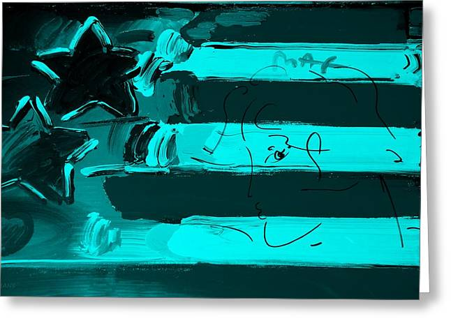 Max Stars And Stripes In Turquois Greeting Card by Rob Hans