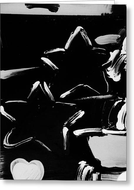 Max Two Stars In Black And White Greeting Card by Rob Hans
