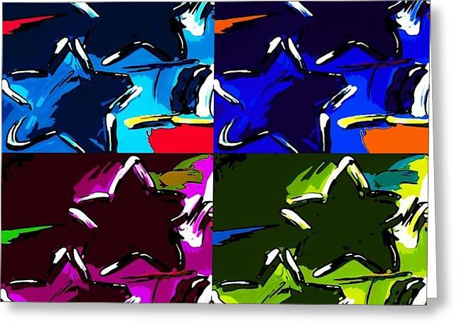 Old Glory Mixed Media Greeting Cards - MAX TWO STARS in PF QUAD COLORS Greeting Card by Rob Hans