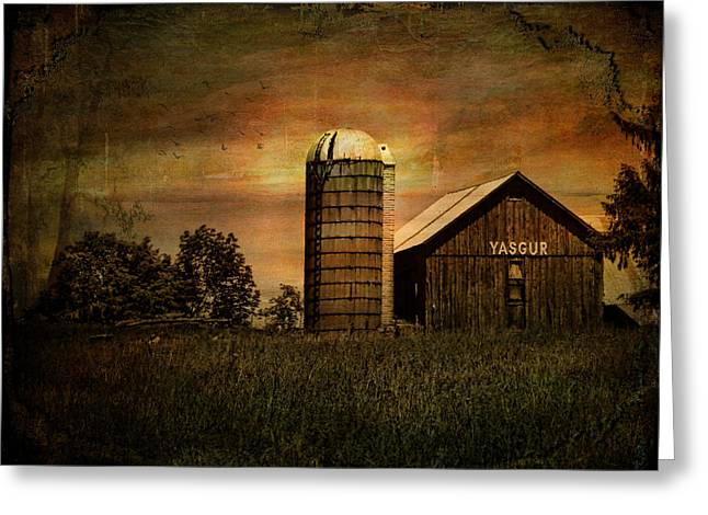 Historical Images Greeting Cards - Max Yasgurs Barn Greeting Card by Pamela Phelps