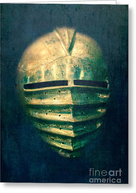 Rivets Greeting Cards - Maximilian Knights Armour Helmet Greeting Card by Edward Fielding