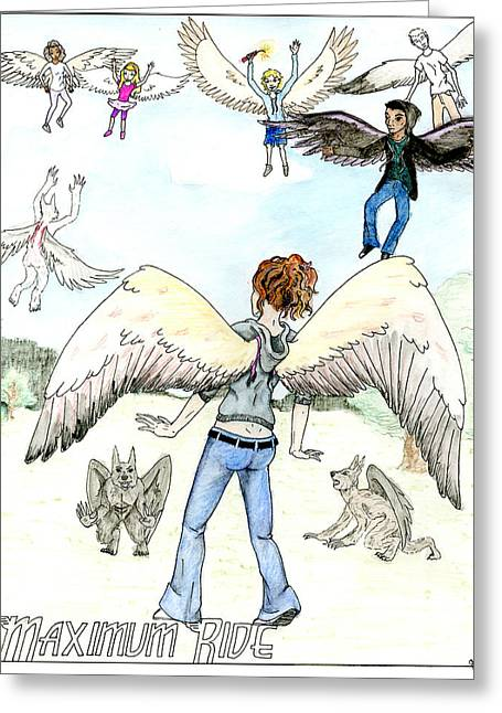 Book Cover Art Drawings Greeting Cards - Maximum Ride book poster Greeting Card by Gabrielle Lang