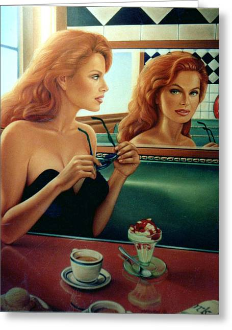 Diner Greeting Cards - Maxine Revealed Greeting Card by Patrick Anthony Pierson