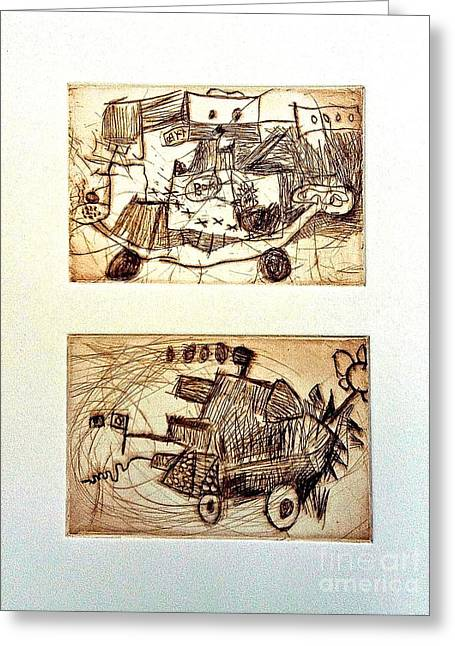 Printmaking Reliefs Greeting Cards - Maxs Machines Greeting Card by Amy Hsiao