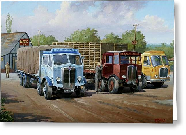 Transport Paintings Greeting Cards - Maxs transport cafe Greeting Card by Mike  Jeffries