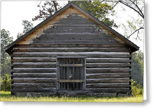Arkansas Greeting Cards - Maxville Log Cabin USA Greeting Card by Sally Rockefeller