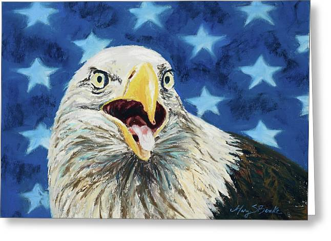 Bald Eagle Pastels Greeting Cards - Maxwell Greeting Card by Mary Benke