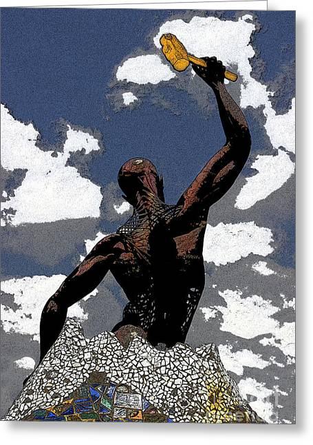 Metal Sculpture Greeting Cards - Maxwells Golden Hammer Greeting Card by Al Bourassa