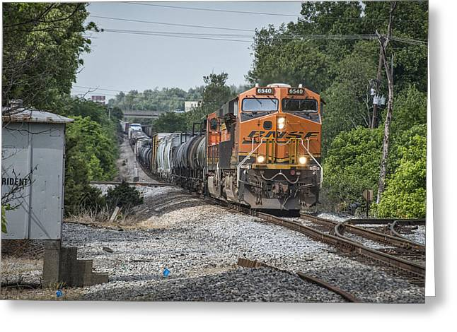 Bnsf Greeting Cards - May 21 2014 - CSX Q515 with BNSF power at Madisonville Ky Greeting Card by Jim Pearson