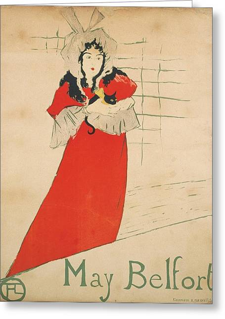 Catalunya Paintings Greeting Cards - May Belfort Greeting Card by Toulouse-Lautrec