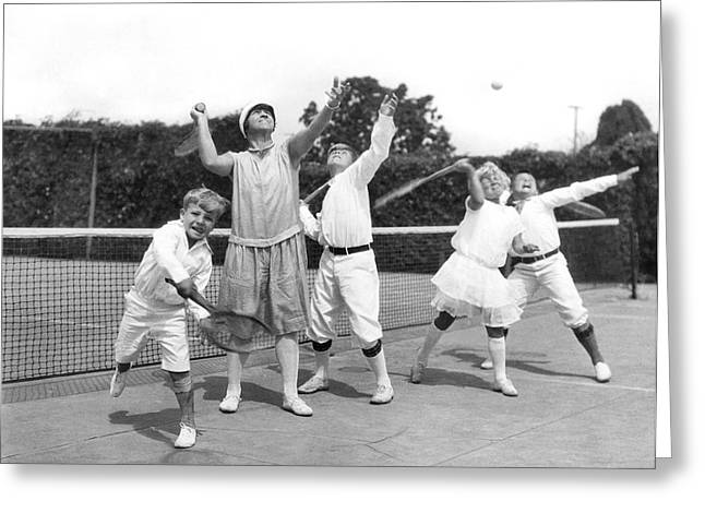 Tennis Champion Greeting Cards - May Bundy And Her Proteges Greeting Card by Underwood Archives