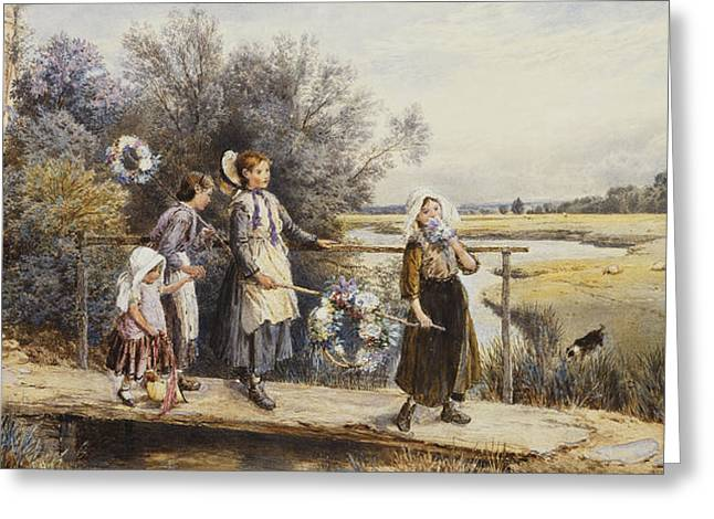 Mid-adult Greeting Cards - May Day Garlands Greeting Card by Myles Birket Foster
