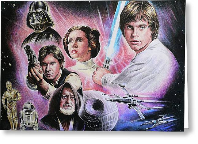 Celebrity Portrait Greeting Cards - May The Force Be With You Greeting Card by Andrew Read