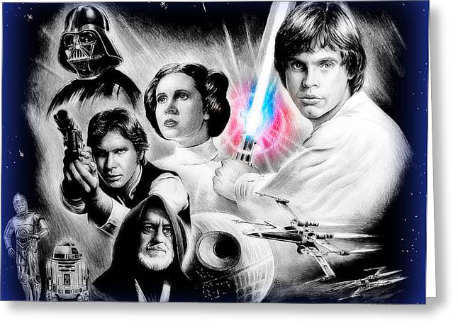 Movie Drawings Greeting Cards - May the force be with you blue effect Greeting Card by Andrew Read