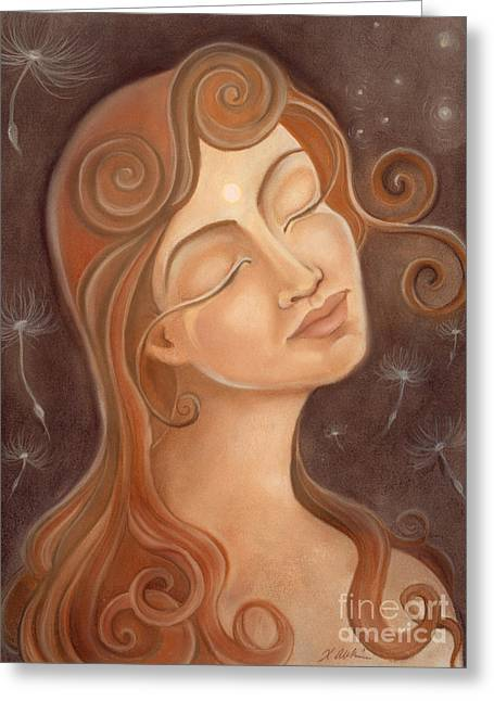Spiritual Portrait Of Woman Greeting Cards - May The Stars Align Greeting Card by Xiomara Aleksic