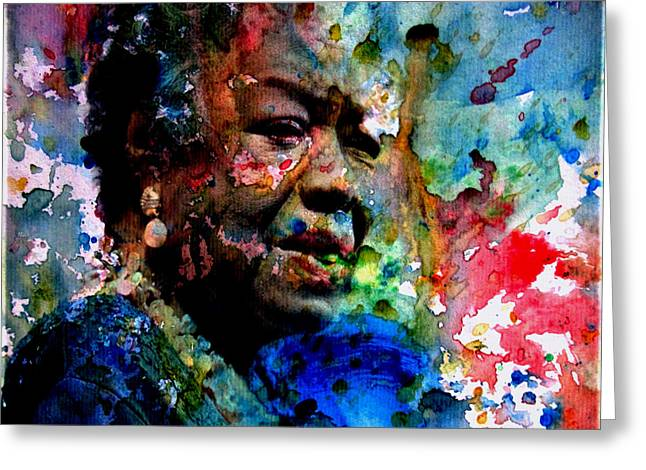 Maya Angelou Paint Splash Greeting Card by Brian Reaves