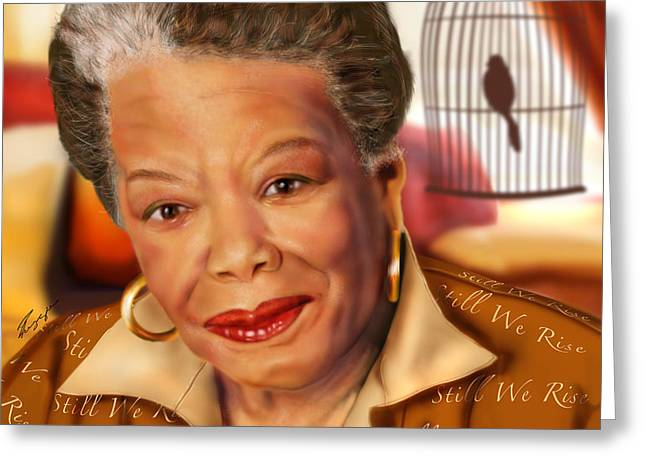 Maya Angelou Greeting Cards - Maya Angelou Rise of the Song Bird Greeting Card by Reggie Duffie