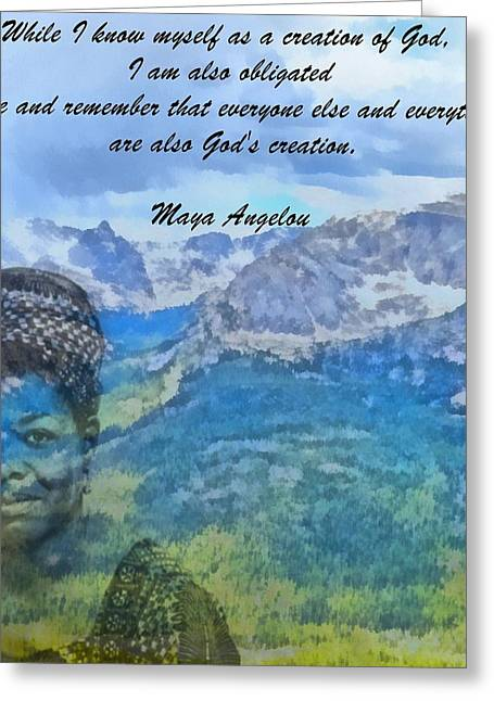 Author Mixed Media Greeting Cards - Maya Angelou Tribute Greeting Card by Dan Sproul