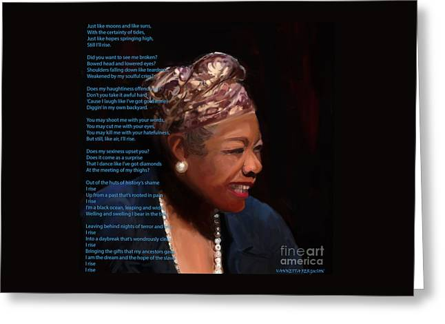 Maya Angelou Greeting Cards - Maya Angelou Greeting Card by Vannetta Ferguson